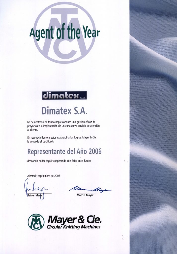 "Certificate for Dimatex being the ""agent of the year"""